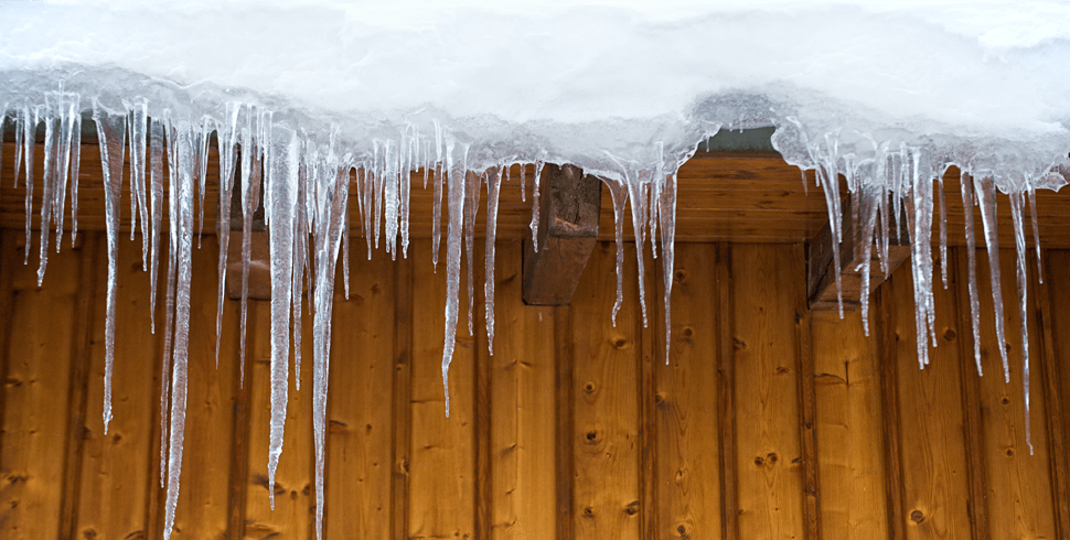Icicles hanging off roof