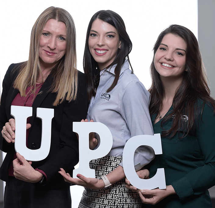 upc team women and letters