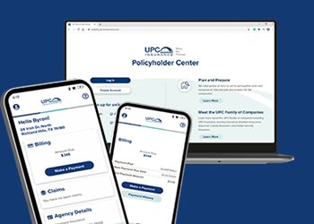 Policyholder Center on laptop and phone