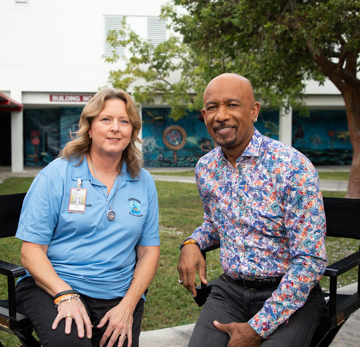 Debra and Montel Williams on set